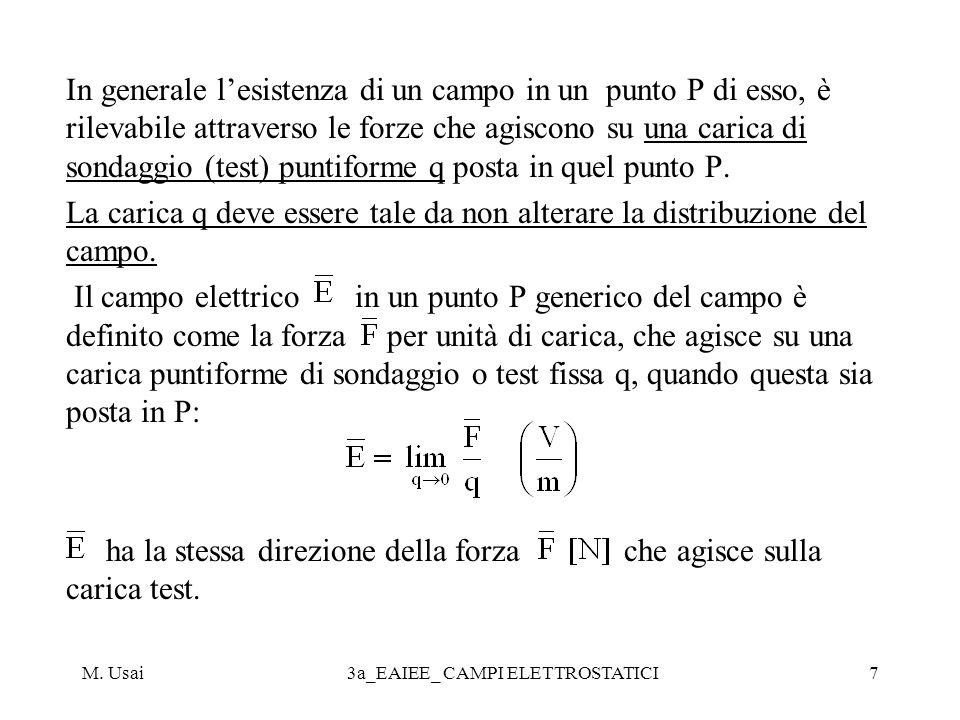 M. Usai3a_EAIEE_ CAMPI ELETTROSTATICI7 In generale lesistenza di un campo in un punto P di esso, è rilevabile attraverso le forze che agiscono su una