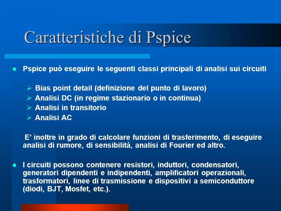Caratteristiche di Pspice Pspice può eseguire le seguenti classi principali di analisi sui circuiti Bias point detail (definizione del punto di lavoro