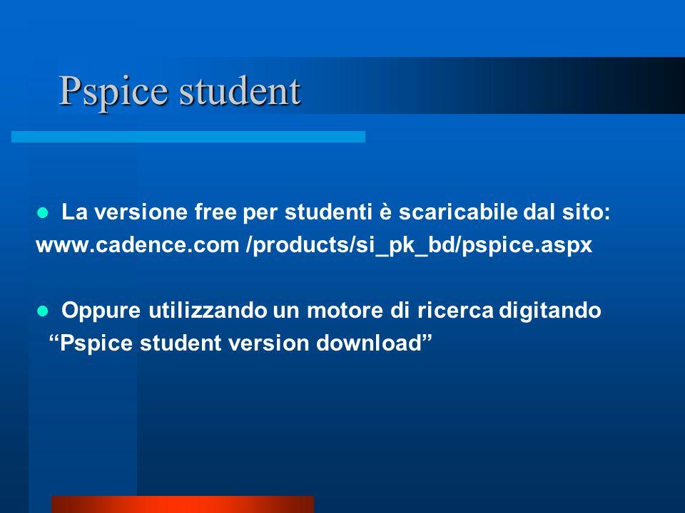 Pspice student La versione free per studenti è scaricabile dal sito: www.cadence.com /products/si_pk_bd/pspice.aspx Oppure utilizzando un motore di ri
