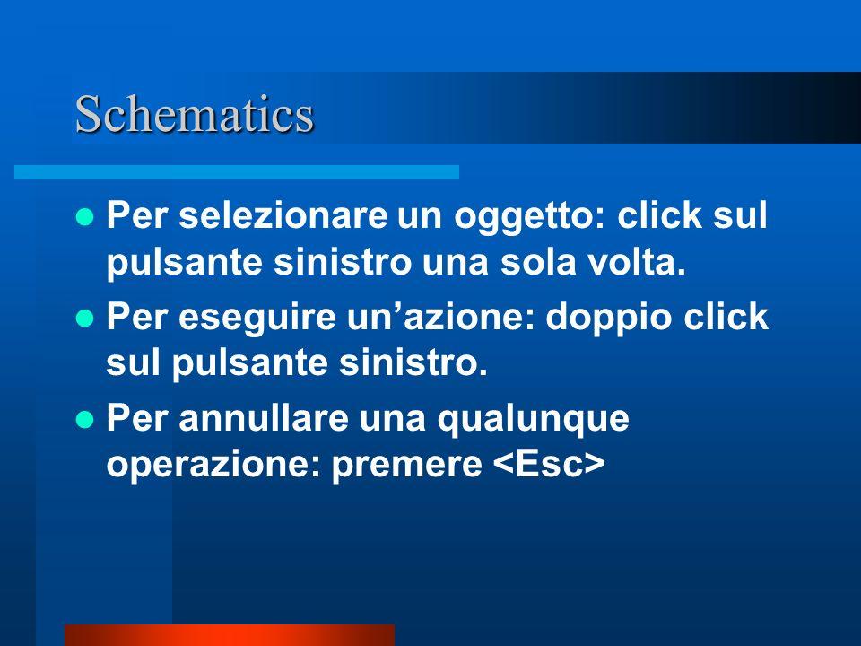 Schematics Per selezionare un oggetto: click sul pulsante sinistro una sola volta. Per eseguire unazione: doppio click sul pulsante sinistro. Per annu