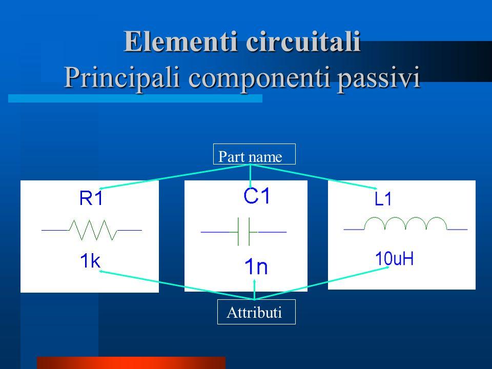 Elementi circuitali Principali componenti passivi Part name Attributi