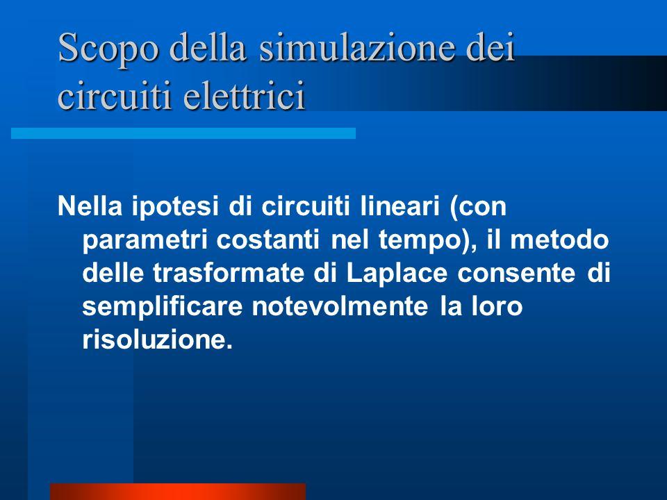 Scopo della simulazione dei circuiti elettrici Nella ipotesi di circuiti lineari (con parametri costanti nel tempo), il metodo delle trasformate di La