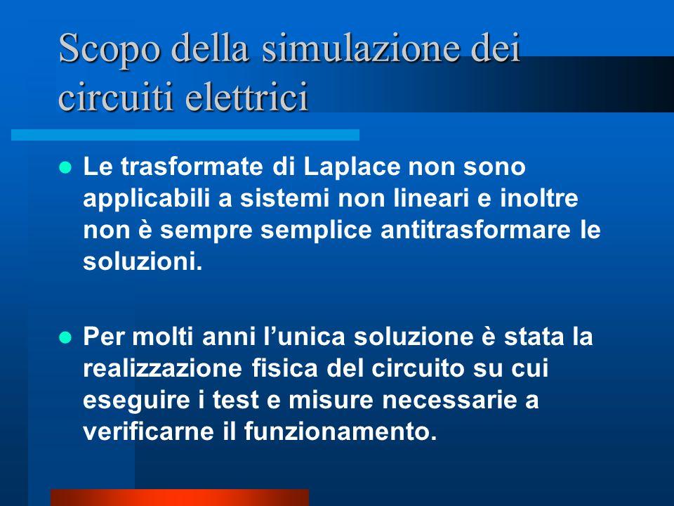 Scopo della simulazione dei circuiti elettrici Le trasformate di Laplace non sono applicabili a sistemi non lineari e inoltre non è sempre semplice an