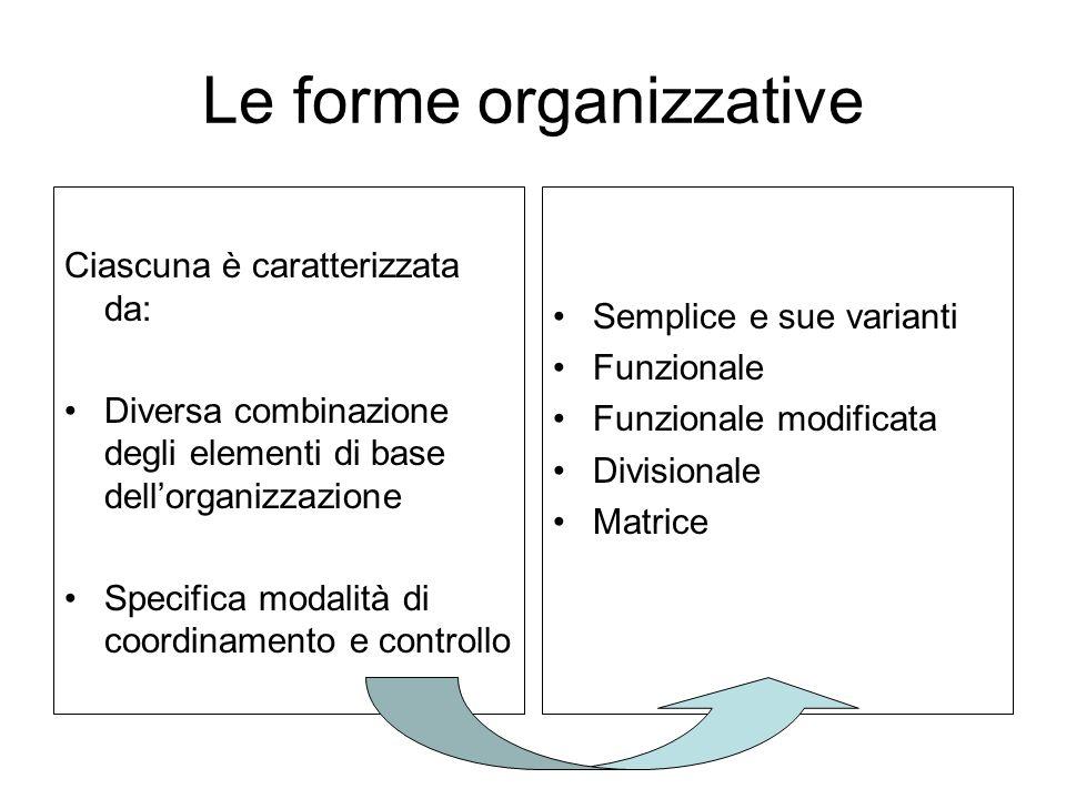 Le forme organizzative Ciascuna è caratterizzata da: Diversa combinazione degli elementi di base dellorganizzazione Specifica modalità di coordinament