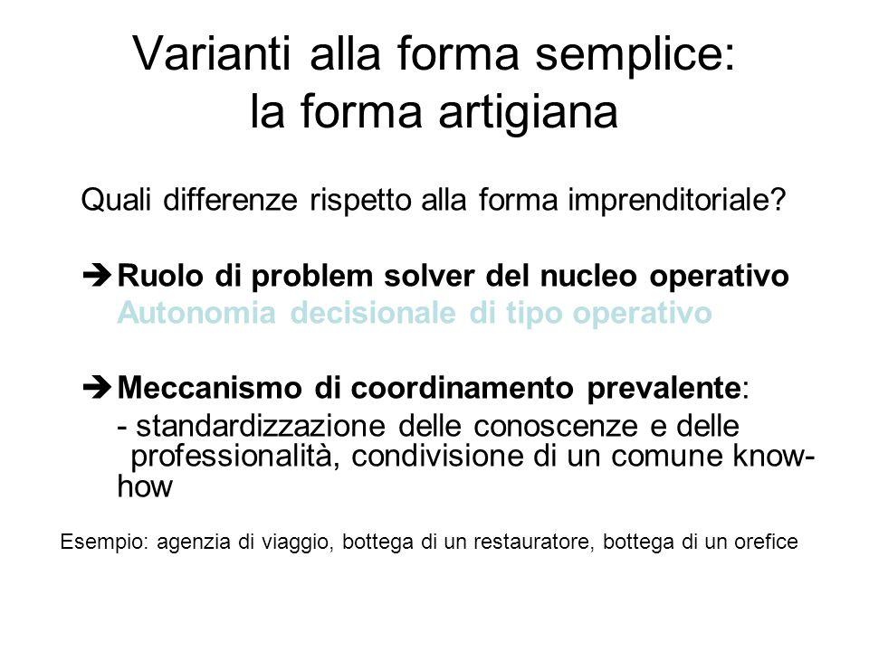 Varianti alla forma semplice: la forma artigiana Quali differenze rispetto alla forma imprenditoriale? èRuolo di problem solver del nucleo operativo A