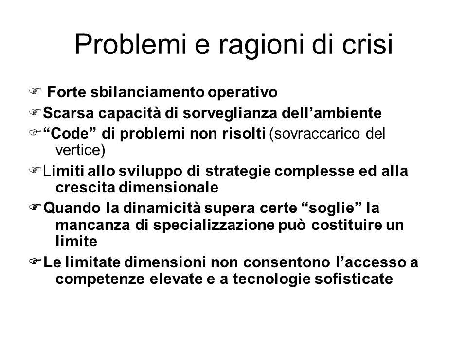 Problemi e ragioni di crisi Forte sbilanciamento operativo Scarsa capacità di sorveglianza dellambiente Code di problemi non risolti (sovraccarico del