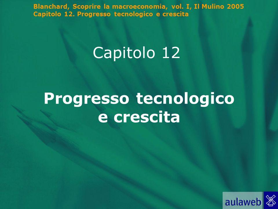 Blanchard, Scoprire la macroeconomia, vol. I, Il Mulino 2005 Capitolo 12. Progresso tecnologico e crescita Capitolo 12 Progresso tecnologico e crescit