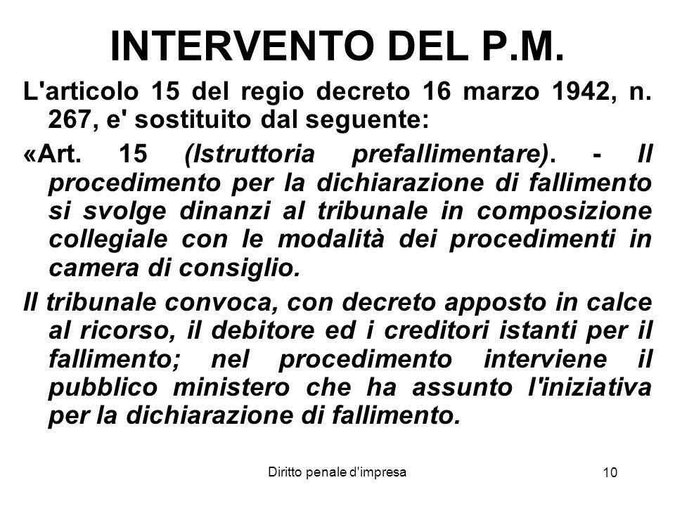 Diritto penale d'impresa 10 INTERVENTO DEL P.M. L'articolo 15 del regio decreto 16 marzo 1942, n. 267, e' sostituito dal seguente: «Art. 15 (Istruttor