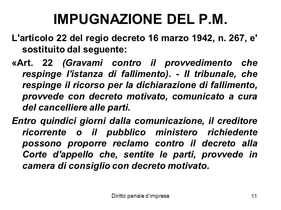 Diritto penale d'impresa 11 IMPUGNAZIONE DEL P.M. L'articolo 22 del regio decreto 16 marzo 1942, n. 267, e' sostituito dal seguente: «Art. 22 (Gravami