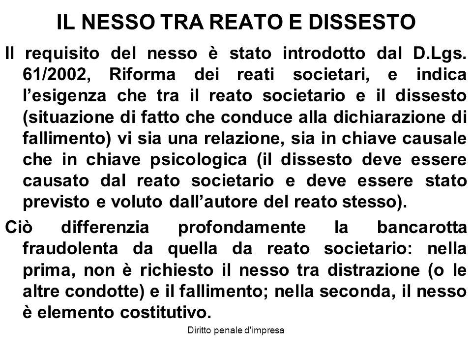 IL NESSO TRA REATO E DISSESTO Il requisito del nesso è stato introdotto dal D.Lgs. 61/2002, Riforma dei reati societari, e indica lesigenza che tra il