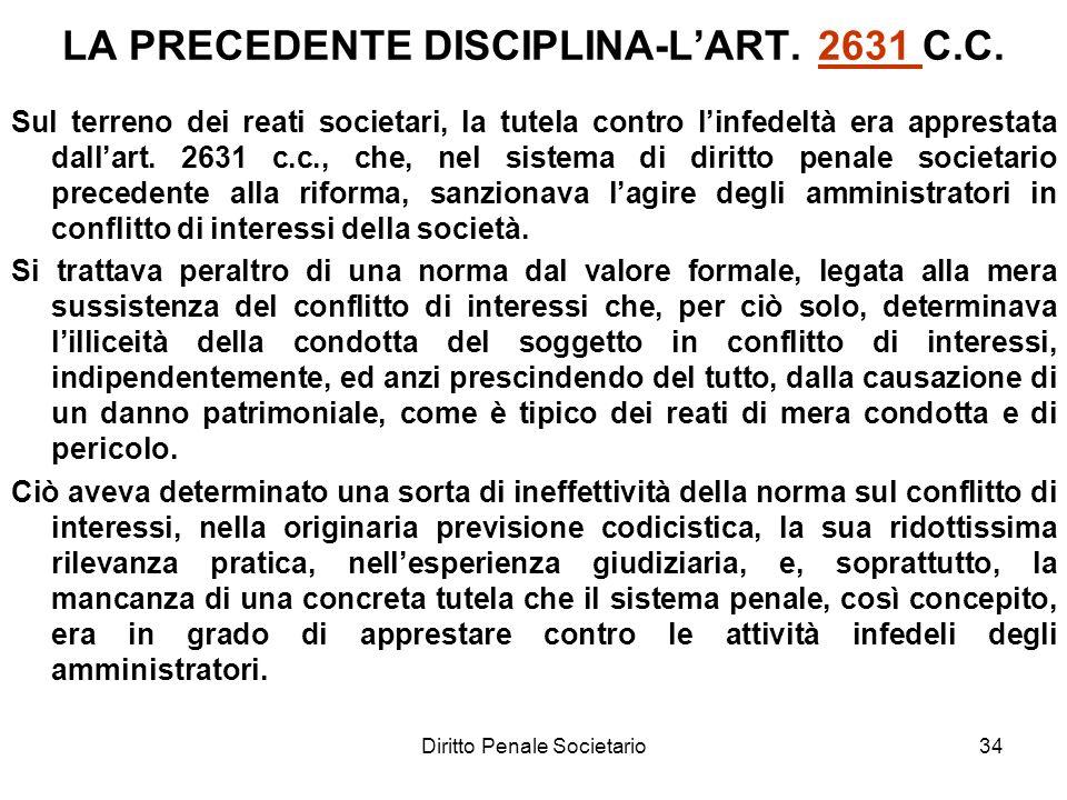 Diritto Penale Societario34 LA PRECEDENTE DISCIPLINA-LART. 2631 C.C.2631 Sul terreno dei reati societari, la tutela contro linfedeltà era apprestata d