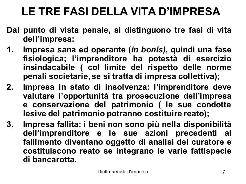Diritto penale d impresa 8 LA DICHIARAZIONE DI FALLIMENTO Decreto Legislativo 9 gennaio 2006, n.