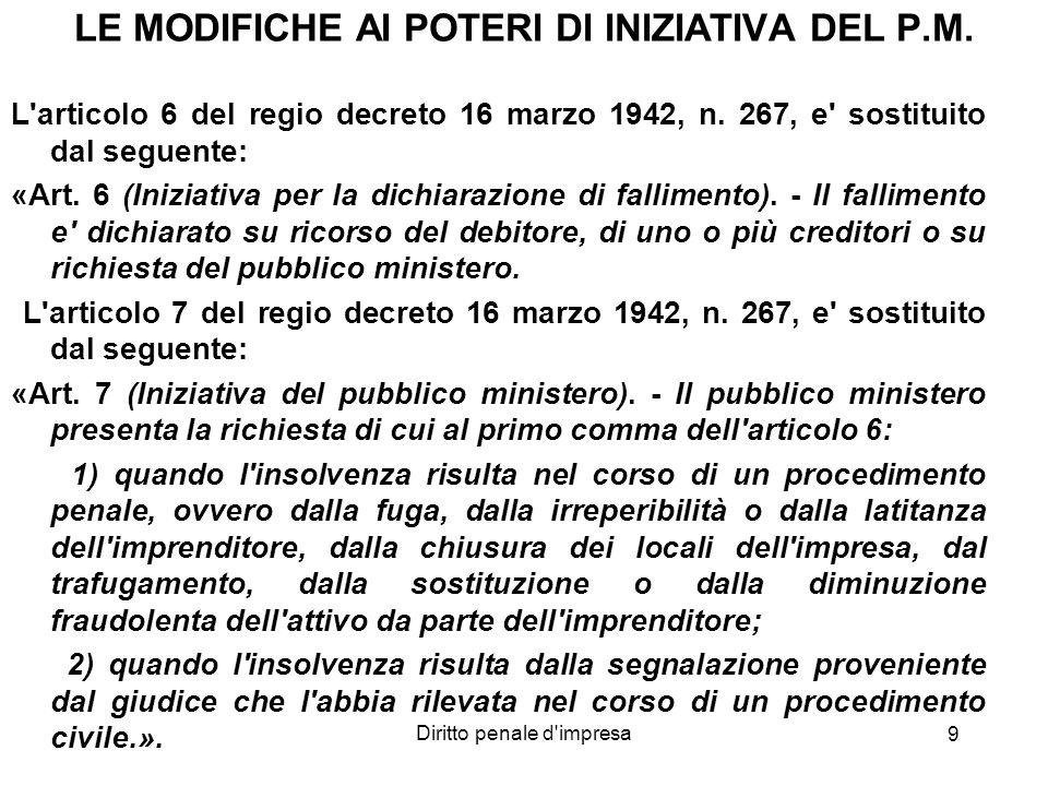 Diritto penale d'impresa 9 LE MODIFICHE AI POTERI DI INIZIATIVA DEL P.M. L'articolo 6 del regio decreto 16 marzo 1942, n. 267, e' sostituito dal segue