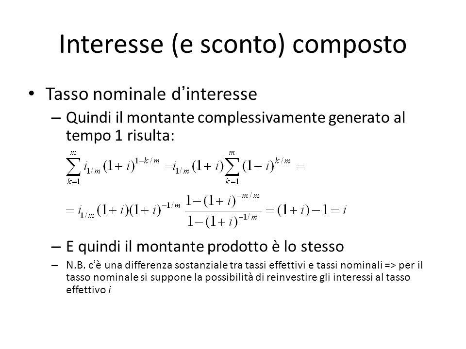 Interesse (e sconto) composto Tasso nominale dinteresse – Quindi il montante complessivamente generato al tempo 1 risulta: – E quindi il montante prodotto è lo stesso – N.B.
