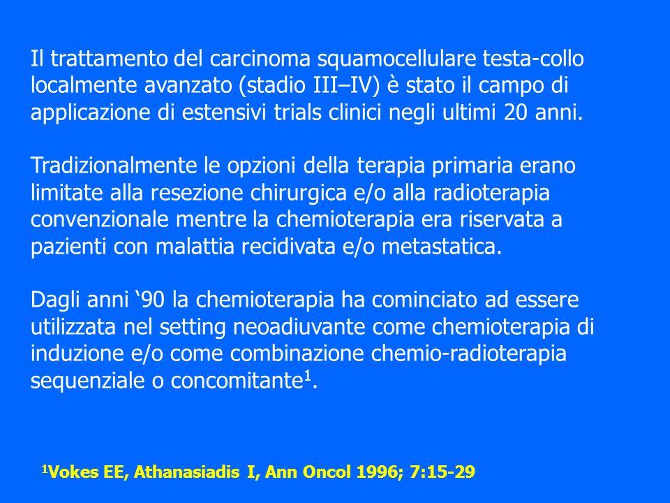 Il trattamento del carcinoma squamocellulare testa-collo localmente avanzato (stadio III–IV) è stato il campo di applicazione di estensivi trials clin