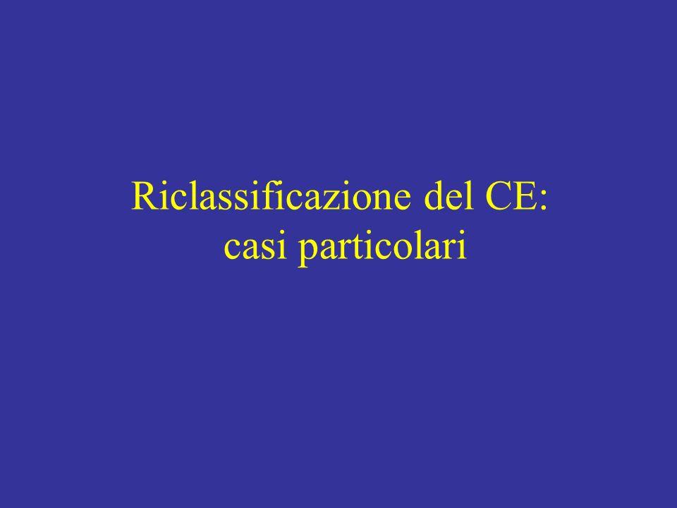 Riclassificazione del CE: casi particolari