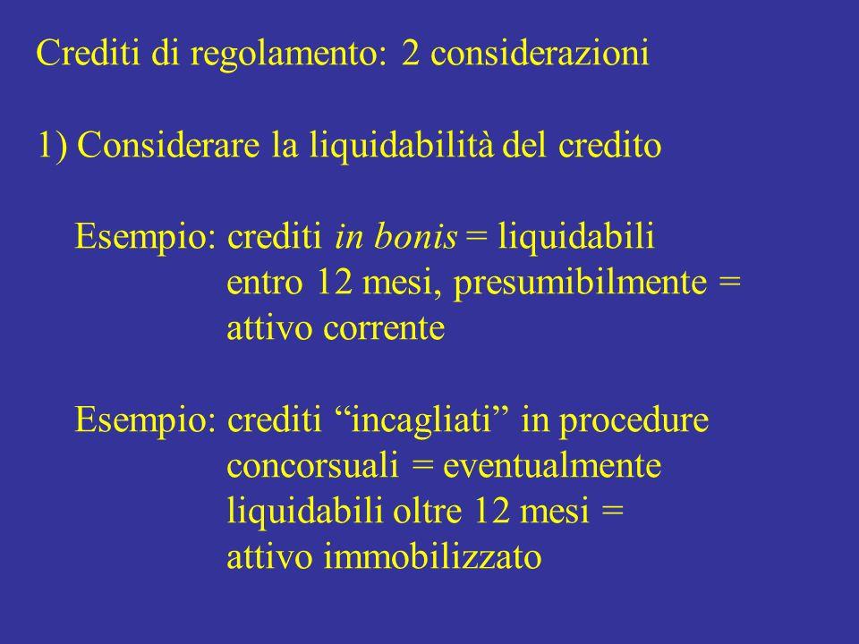 Crediti di regolamento: 2 considerazioni 1) Considerare la liquidabilità del credito Esempio: crediti in bonis = liquidabili entro 12 mesi, presumibilmente = attivo corrente Esempio: crediti incagliati in procedure concorsuali = eventualmente liquidabili oltre 12 mesi = attivo immobilizzato