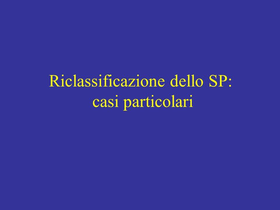 Riclassificazione dello SP: casi particolari