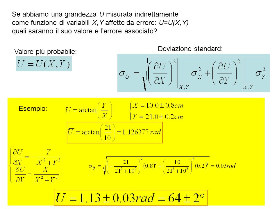Se abbiamo una grandezza U misurata indirettamente come funzione di variabili X,Y affette da errore: U=U(X,Y) quali saranno il suo valore e lerrore as