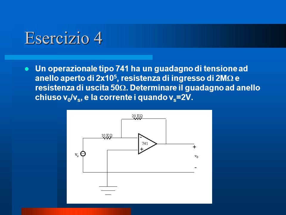 Esercizio 4 Un operazionale tipo 741 ha un guadagno di tensione ad anello aperto di 2x10 5, resistenza di ingresso di 2M e resistenza di uscita 50. De