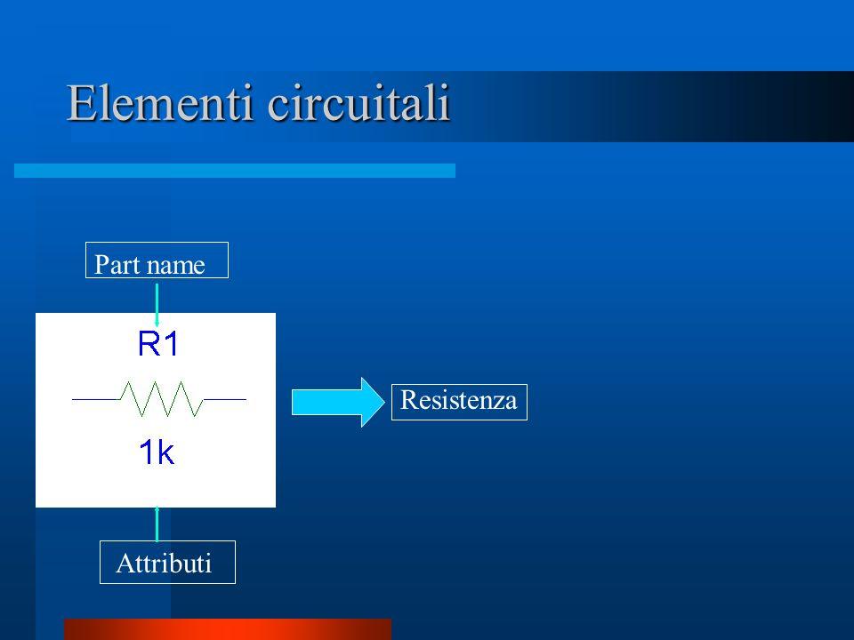Elementi circuitali Part name Attributi Resistenza