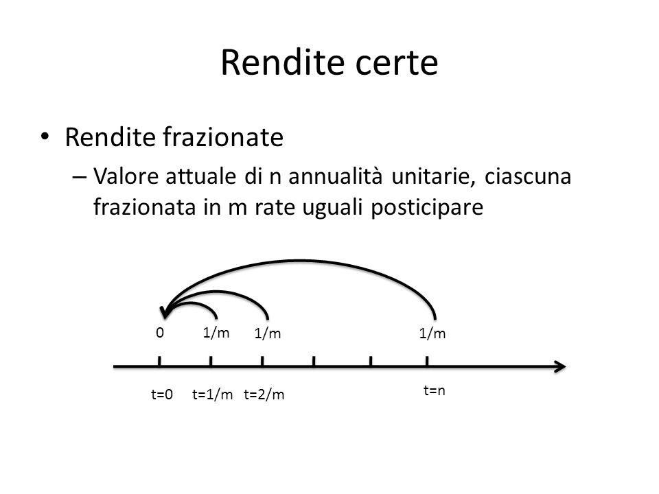 Rendite certe Rendite frazionate – Valore attuale di n annualità unitarie, ciascuna frazionata in m rate uguali posticipare t=0 t=n 0 t=1/mt=2/m 1/m