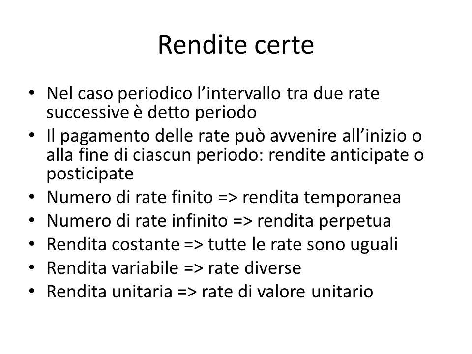 Rendite certe Nel caso periodico lintervallo tra due rate successive è detto periodo Il pagamento delle rate può avvenire allinizio o alla fine di cia