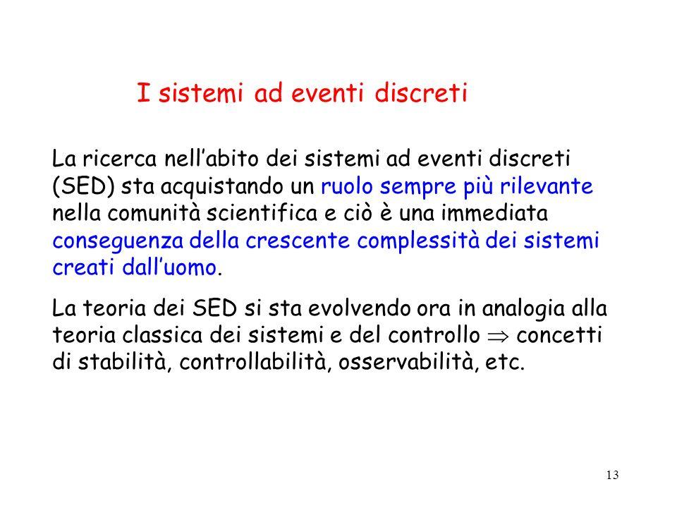 13 I sistemi ad eventi discreti La ricerca nellabito dei sistemi ad eventi discreti (SED) sta acquistando un ruolo sempre più rilevante nella comunità