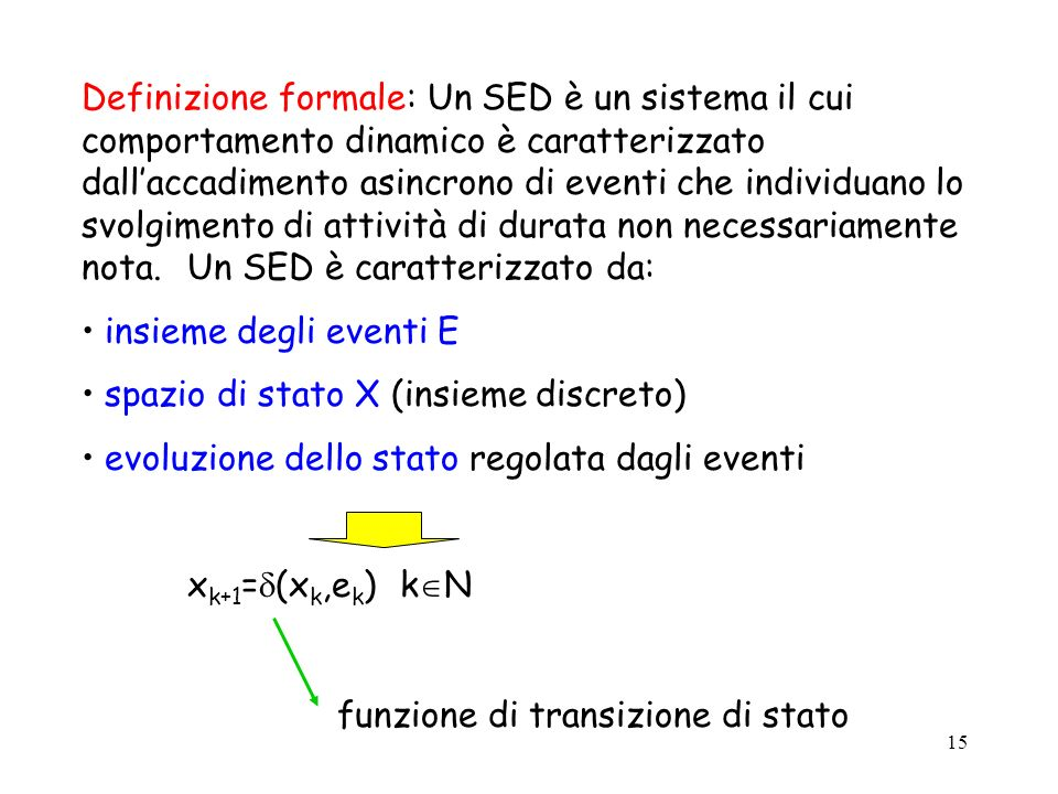 15 Definizione formale: Un SED è un sistema il cui comportamento dinamico è caratterizzato dallaccadimento asincrono di eventi che individuano lo svolgimento di attività di durata non necessariamente nota.