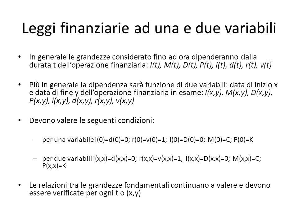 Leggi finanziarie ad una e due variabili In generale le grandezze considerato fino ad ora dipenderanno dalla durata t delloperazione finanziaria: I(t)