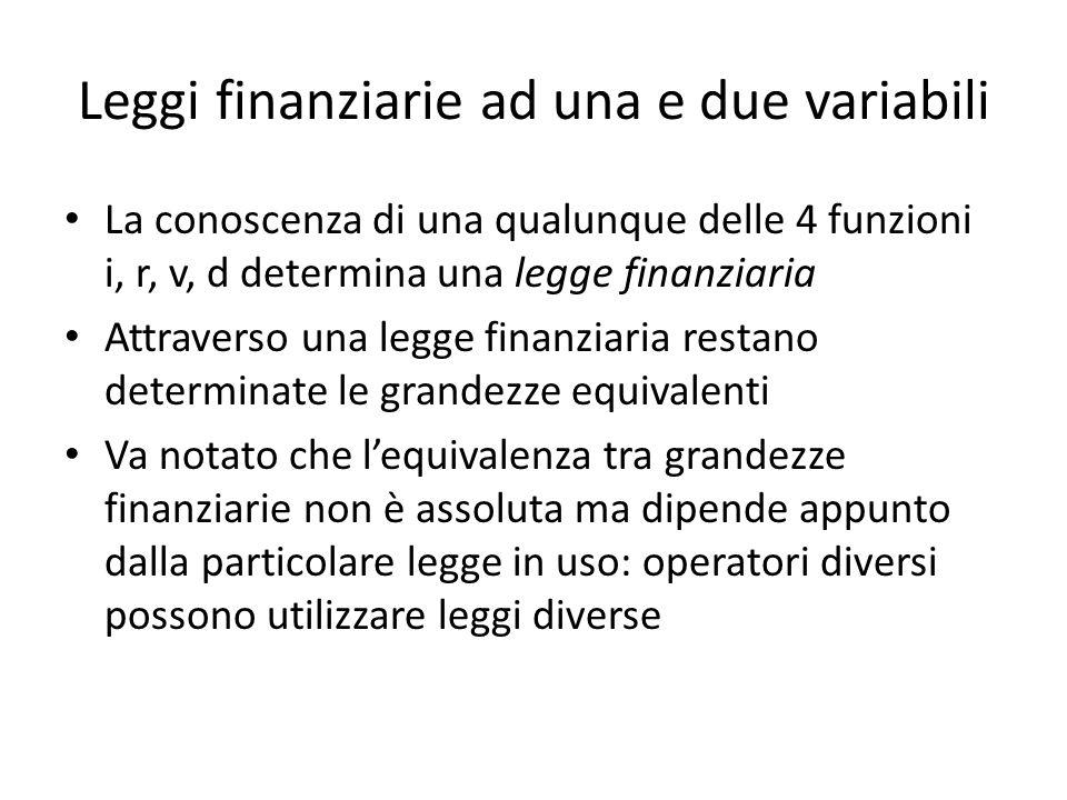 Leggi finanziarie ad una e due variabili Le leggi ad una variabili possono essere ricondotte a leggi a due variabile.