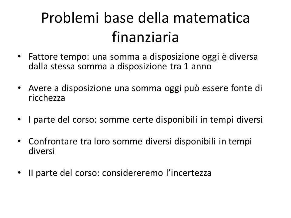 Problemi base della matematica finanziaria Fattore tempo: una somma a disposizione oggi è diversa dalla stessa somma a disposizione tra 1 anno Avere a