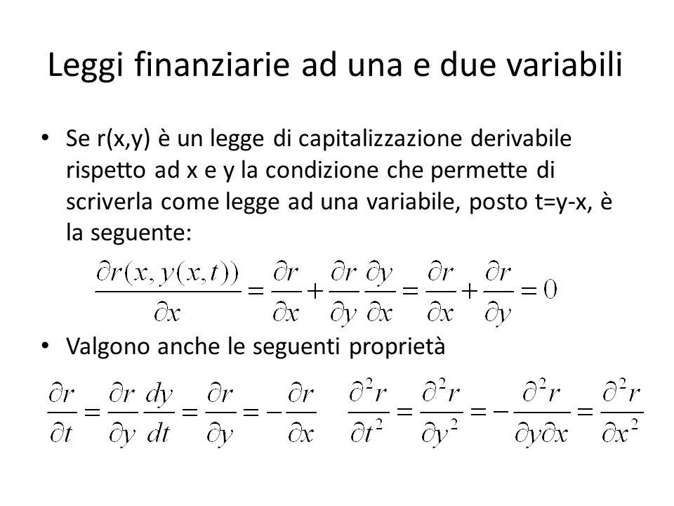Leggi finanziarie ad una e due variabili Se r(x,y) è un legge di capitalizzazione derivabile rispetto ad x e y la condizione che permette di scriverla