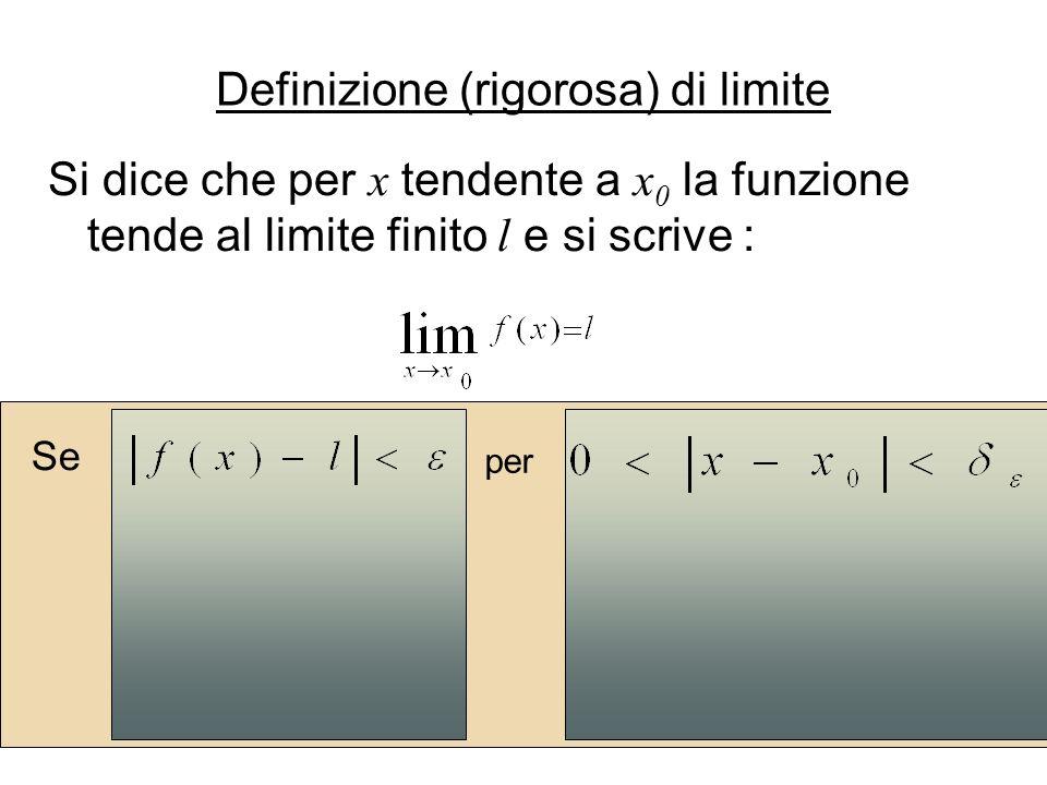 Si dice che per x tendente a x 0 la funzione tende al limite finito l e si scrive : Se per Definizione (rigorosa) di limite