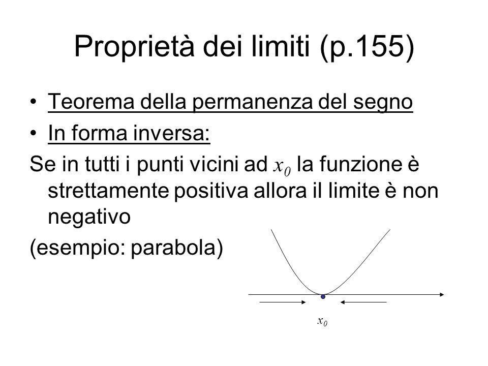 Proprietà dei limiti (p.155) Teorema della permanenza del segno In forma inversa: Se in tutti i punti vicini ad x 0 la funzione è strettamente positiv