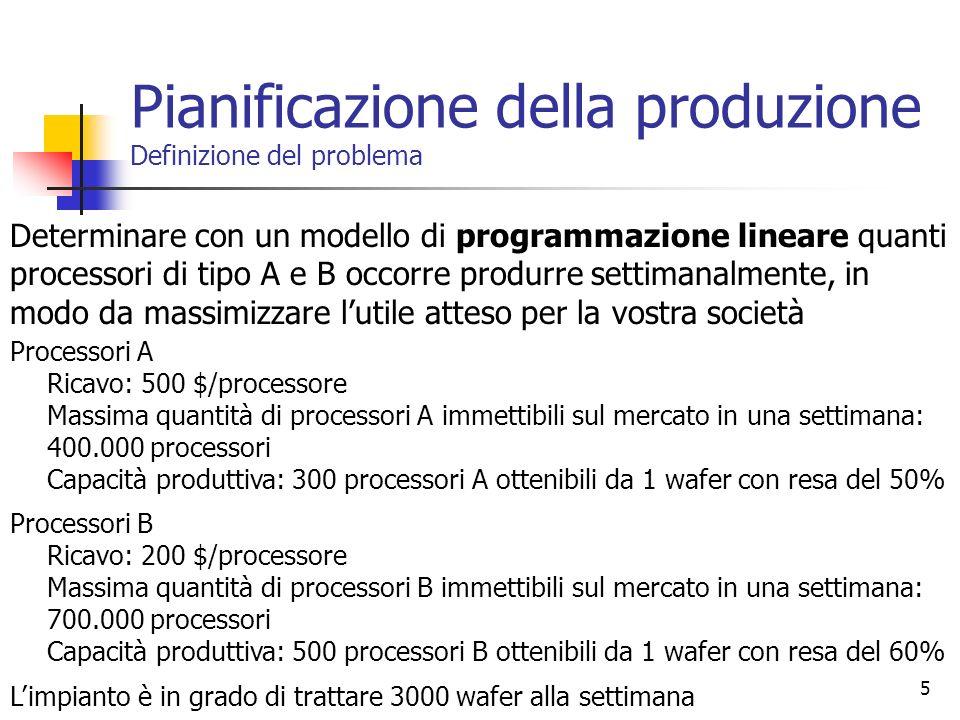5 Processori A Ricavo: 500 $/processore Massima quantità di processori A immettibili sul mercato in una settimana: 400.000 processori Capacità produtt