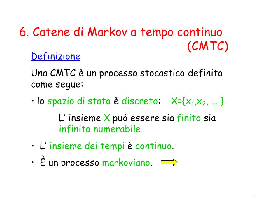 12 Ad una CMTC omogenea è possibile associare una rappresentazione grafica data da un grafo orientato e pesato G=(V,A) dove: V = X (ad ogni stato corrisponde un vertice) A X X insieme degli archi dove: il peso del generico arco a = (x i,x j ) è pari a q ij ; non esistono archi da x i ad x i (cappi) Esempio precedente: x1x1 x2x2 0.01 1 x 1 = funzionante, x 2 = guasta