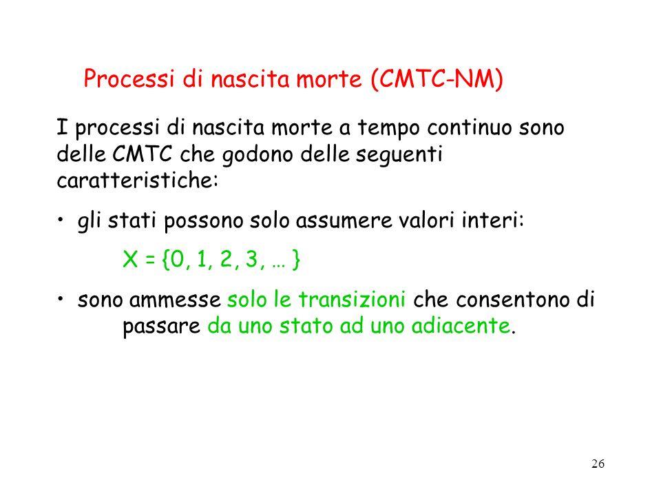 26 Processi di nascita morte (CMTC-NM) I processi di nascita morte a tempo continuo sono delle CMTC che godono delle seguenti caratteristiche: gli sta