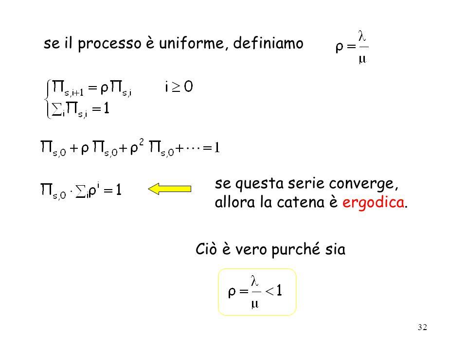 32 se il processo è uniforme, definiamo se questa serie converge, allora la catena è ergodica. Ciò è vero purché sia