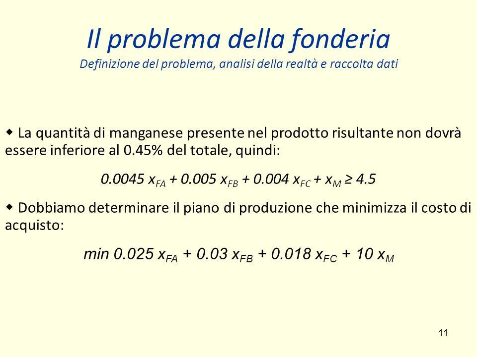 11 Il problema della fonderia Definizione del problema, analisi della realtà e raccolta dati La quantità di manganese presente nel prodotto risultante non dovrà essere inferiore al 0.45% del totale, quindi: 0.0045 x FA + 0.005 x FB + 0.004 x FC + x M 4.5 Dobbiamo determinare il piano di produzione che minimizza il costo di acquisto: min 0.025 x FA + 0.03 x FB + 0.018 x FC + 10 x M