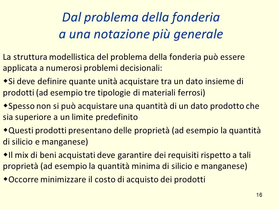 16 Dal problema della fonderia a una notazione più generale La struttura modellistica del problema della fonderia può essere applicata a numerosi prob
