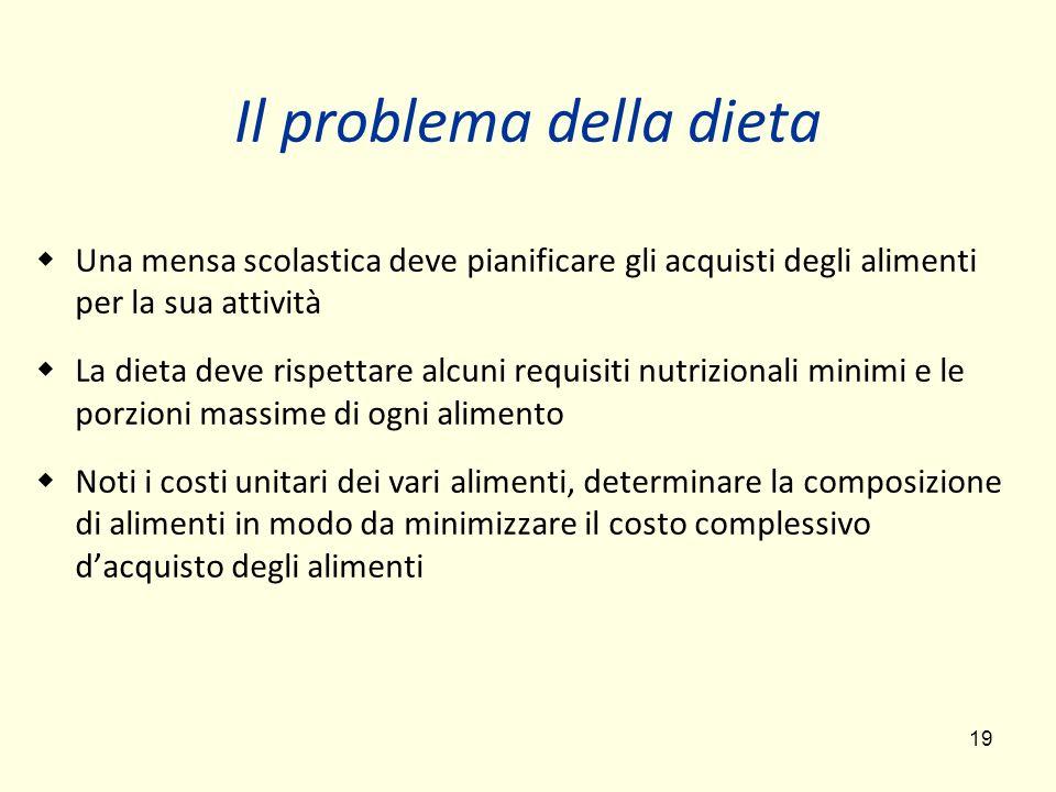 19 Il problema della dieta Una mensa scolastica deve pianificare gli acquisti degli alimenti per la sua attività La dieta deve rispettare alcuni requi