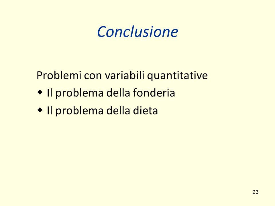 23 Conclusione Problemi con variabili quantitative Il problema della fonderia Il problema della dieta