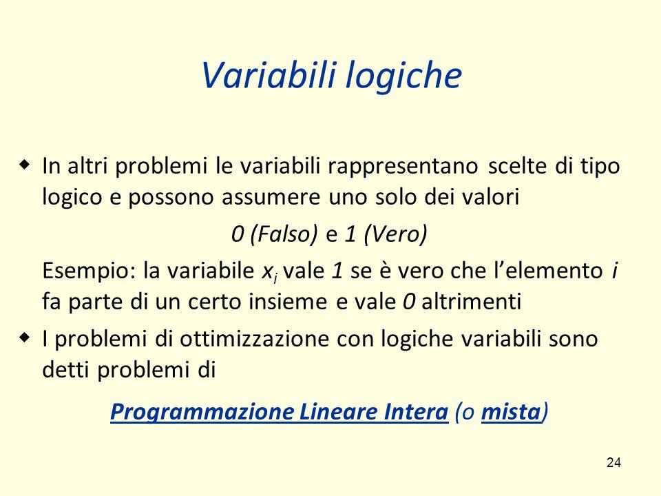 24 Variabili logiche In altri problemi le variabili rappresentano scelte di tipo logico e possono assumere uno solo dei valori 0 (Falso) e 1 (Vero) Esempio: la variabile x i vale 1 se è vero che lelemento i fa parte di un certo insieme e vale 0 altrimenti I problemi di ottimizzazione con logiche variabili sono detti problemi di Programmazione Lineare Intera (o mista)
