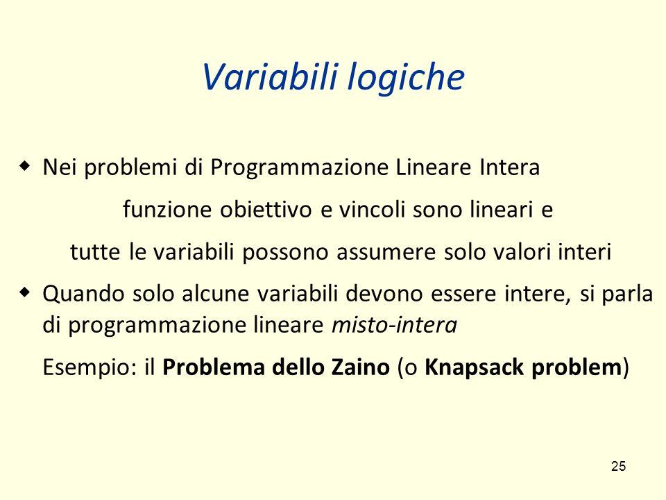 25 Variabili logiche Nei problemi di Programmazione Lineare Intera funzione obiettivo e vincoli sono lineari e tutte le variabili possono assumere solo valori interi Quando solo alcune variabili devono essere intere, si parla di programmazione lineare misto-intera Esempio: il Problema dello Zaino (o Knapsack problem)