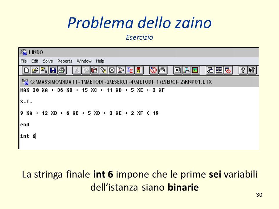 30 Problema dello zaino Esercizio La stringa finale int 6 impone che le prime sei variabili dellistanza siano binarie