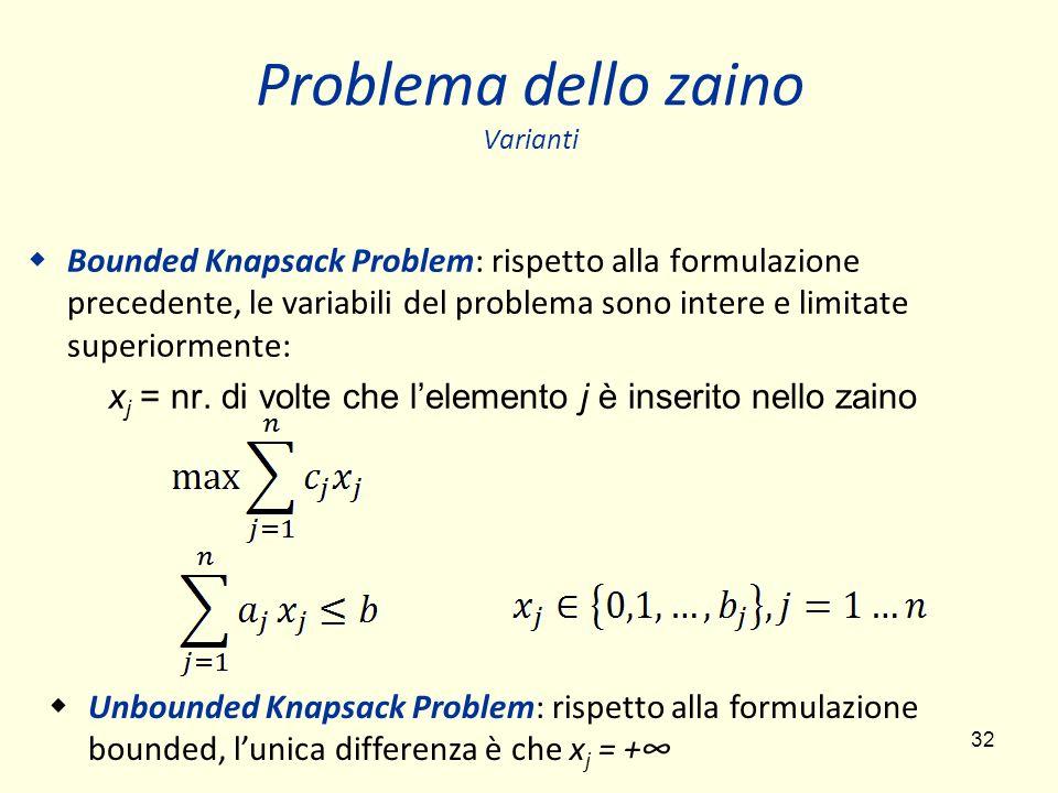 32 Problema dello zaino Varianti Bounded Knapsack Problem: rispetto alla formulazione precedente, le variabili del problema sono intere e limitate superiormente: x j = nr.