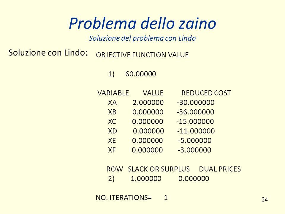 34 Problema dello zaino Soluzione del problema con Lindo OBJECTIVE FUNCTION VALUE 1) 60.00000 VARIABLE VALUE REDUCED COST XA 2.000000 -30.000000 XB 0.000000 -36.000000 XC 0.000000 -15.000000 XD 0.000000 -11.000000 XE 0.000000 -5.000000 XF 0.000000 -3.000000 ROW SLACK OR SURPLUS DUAL PRICES 2) 1.000000 0.000000 NO.
