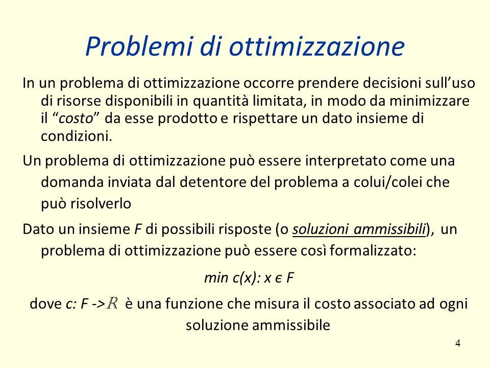4 Problemi di ottimizzazione In un problema di ottimizzazione occorre prendere decisioni sulluso di risorse disponibili in quantità limitata, in modo da minimizzare il costo da esse prodotto e rispettare un dato insieme di condizioni.