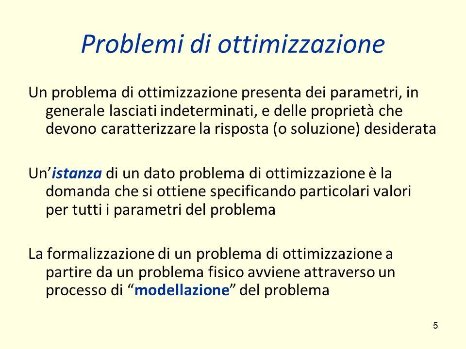 5 Problemi di ottimizzazione Un problema di ottimizzazione presenta dei parametri, in generale lasciati indeterminati, e delle proprietà che devono ca